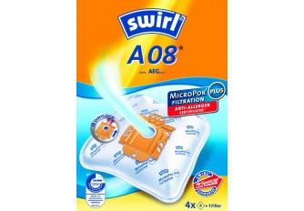 Swirl A 08 Staubsaugerbeutel Filtertüten MicroPor - Inhalt 4 Stück + 1 Filter