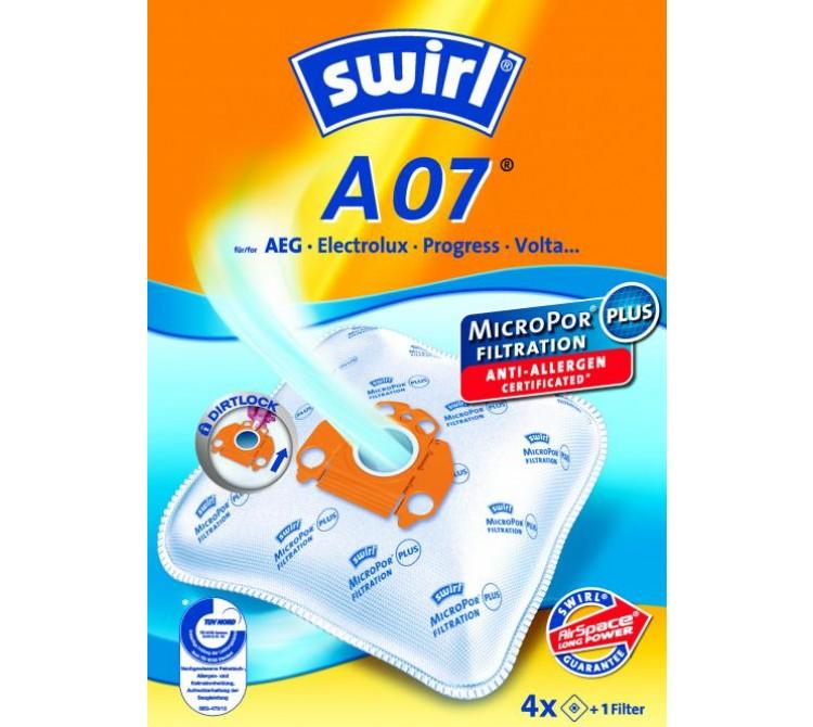 Swirl A 07 Staubsaugerbeutel Filtertüten MicroPor - Inhalt 4 Stück + 1 Filter