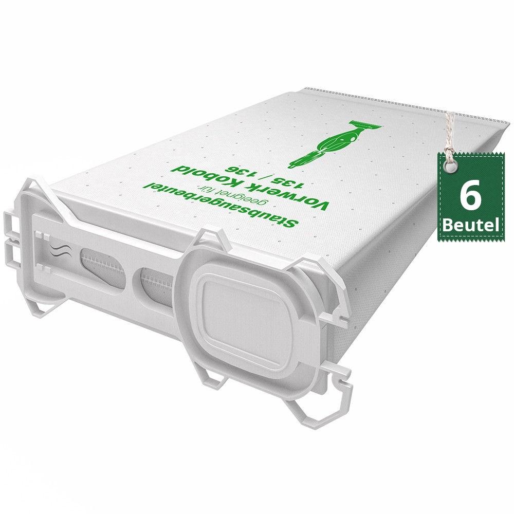 6 Filtertüten Vlies geeignet für Vorwerk Kobold 130 131 Staubsaugerbeutel
