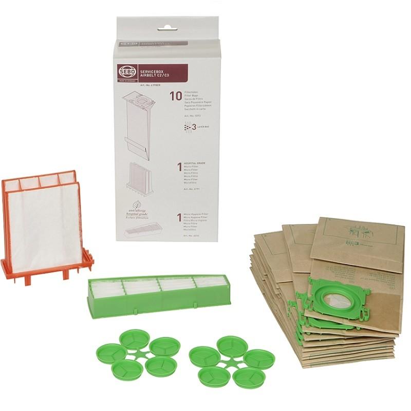 sebo 6198er servicebox filtert ten filter staubsaugerbeutel f r airbelt c2 und c3 ger te. Black Bedroom Furniture Sets. Home Design Ideas