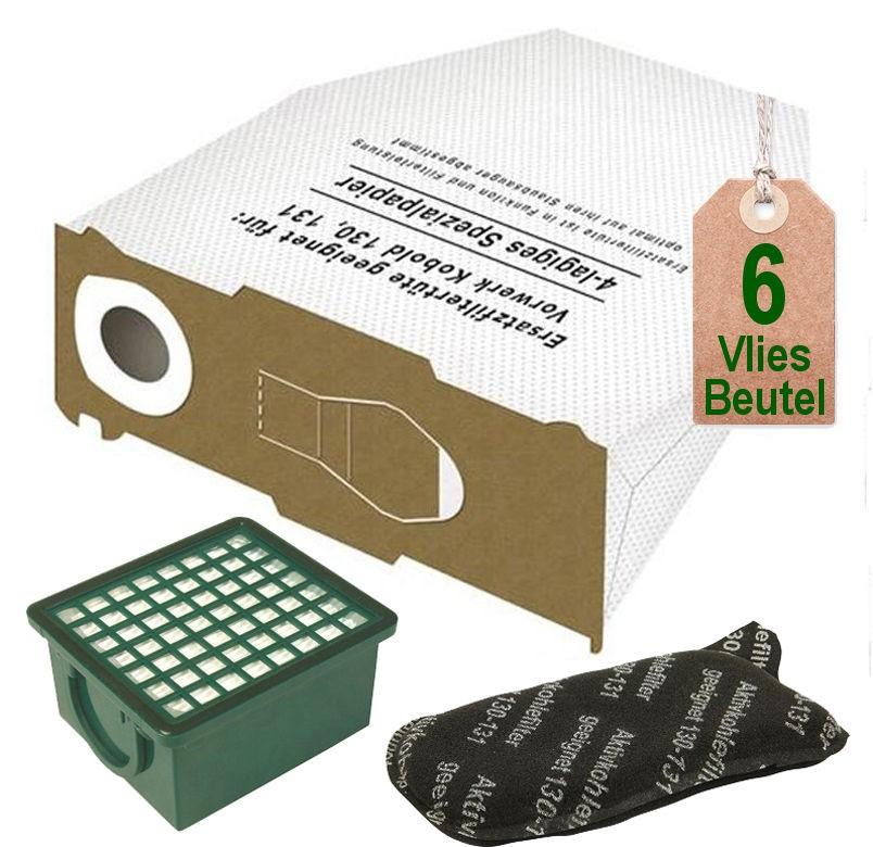 Filterset 5 Staubsaugerbeutel Tüten Vlies geeignet Vorwerk Tiger 260