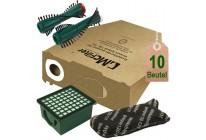 10 Staubsaugerbeutel Filtertüten Filterset Bürsten geeignet für Vorwerk Kobold VK 130 und VK 131